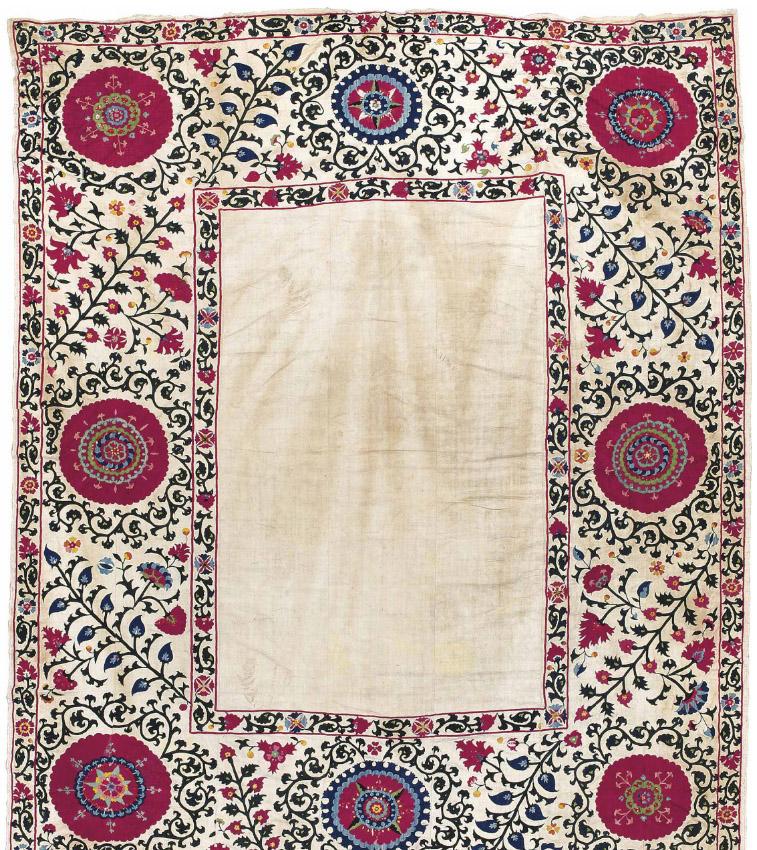 Lot 188, Shakhrisabz Suzani, Uzbekistan, 19th Century. Estimate £5000-8000