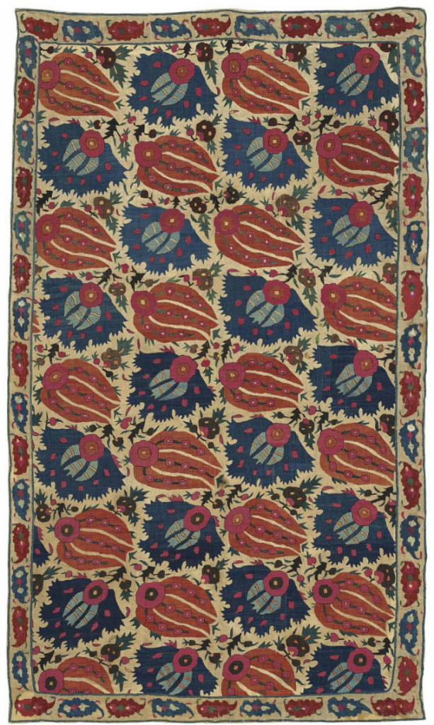 Art of the Islamic and Indian Worlds Lot 200, A silk embroidered textile (Bohça), Ottoman Turkey, 17th century Estimate £20,000-30,000