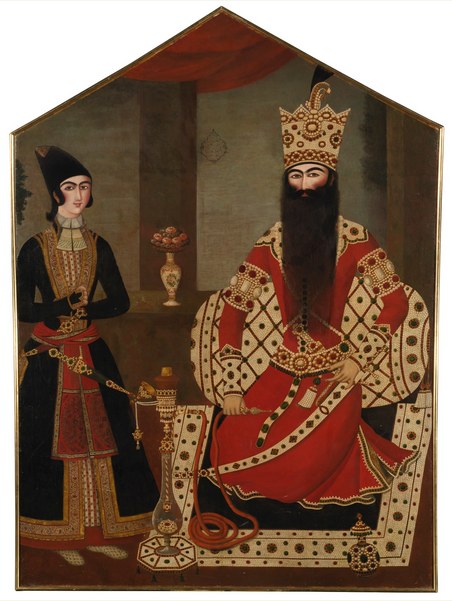 Lot 87, A Qajar Royal portrait of Fath 'Ali Shah attended by a Prince, attributed to Mihr 'Ali, Persia, circa 1820 Estimate £1,500,000 — 2,500,000