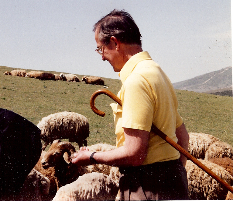 E.B. Ned Long, doing field work.' in April 1989 near Shemaka, Azerbaijan during the Textile Museum trip to the USSR