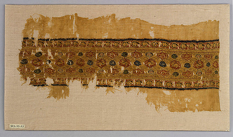 Tiraz fragment, Linen tabby with silk tapestry, Egypt, 12th century