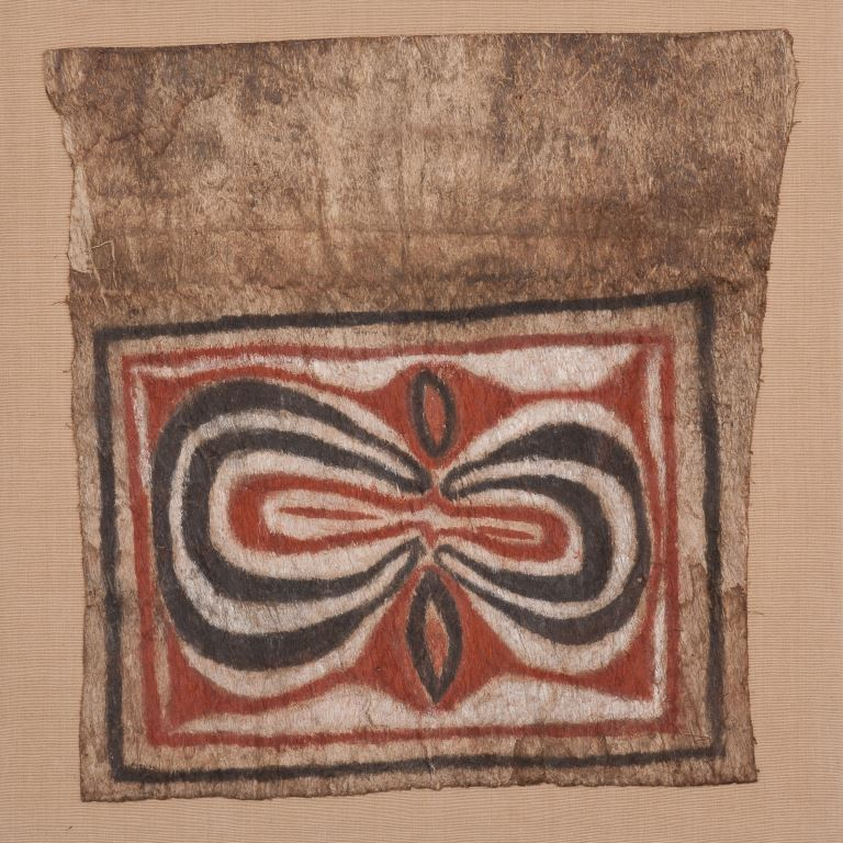 Man's bark cloth tapa, New Guinea, 21.5 x 22, mounted, 4254,high res. image.
