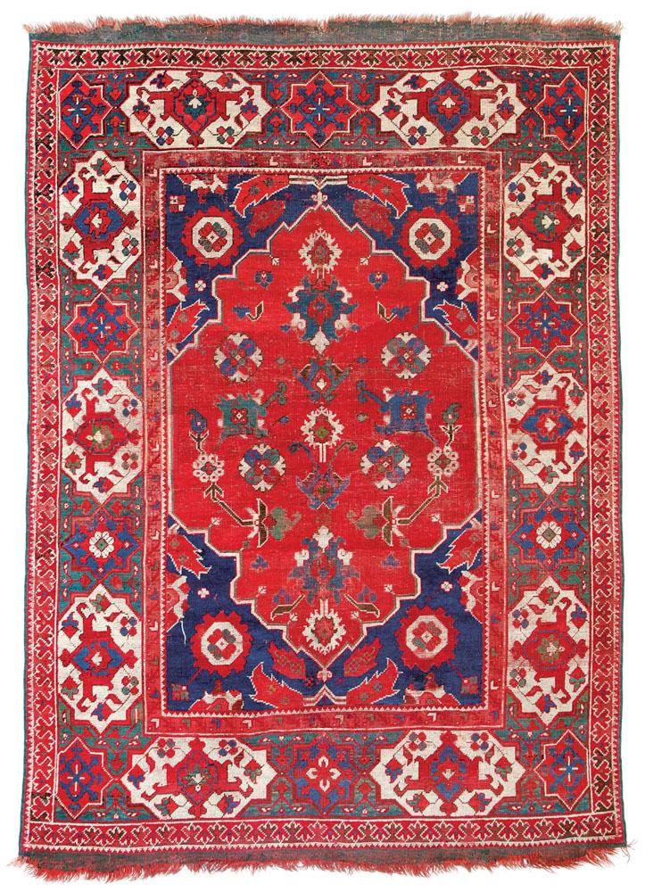 """Lot 189<br> Transylvanian Ushak published in """"Antike Anatolische Teppiche aus Österreichischem Besitz"""" 1983 plate 13 <br>Turkey 17th century<br> Estimate: € 18,000 – 22,000"""