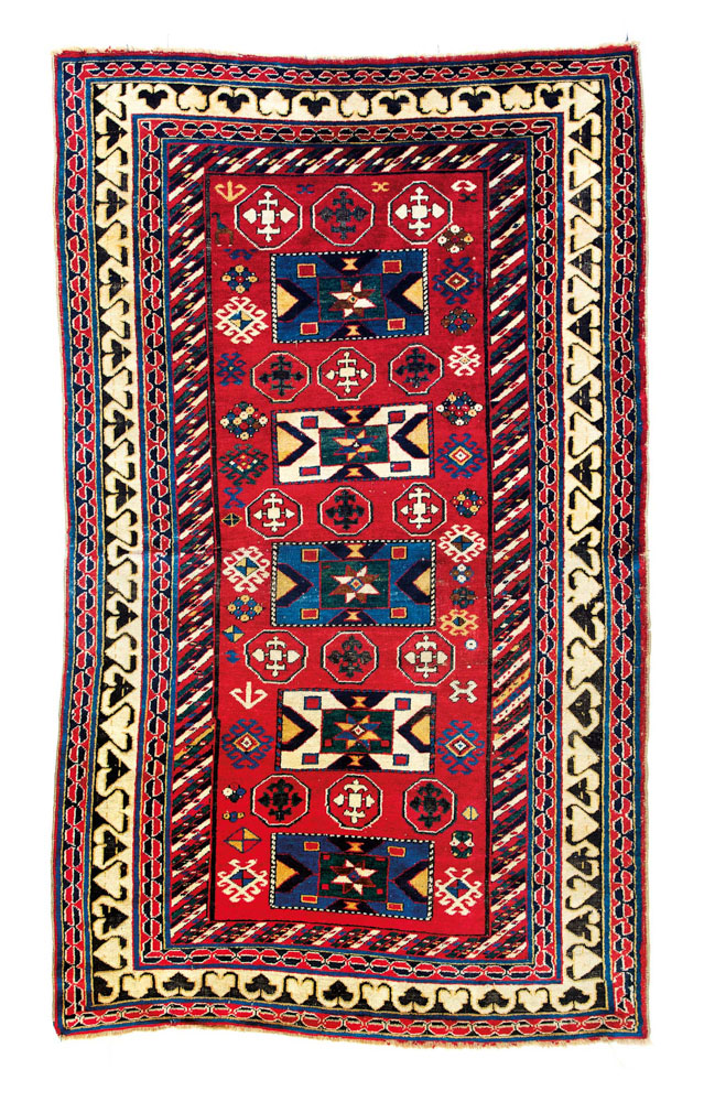 "Lot 47<br> Borjalu Kazak, published in Schürmann ""Caucasian rugs"" 1990 plate 12, Caucasus circa 1850 <br> Estimate: € 9,000 – 11,000"