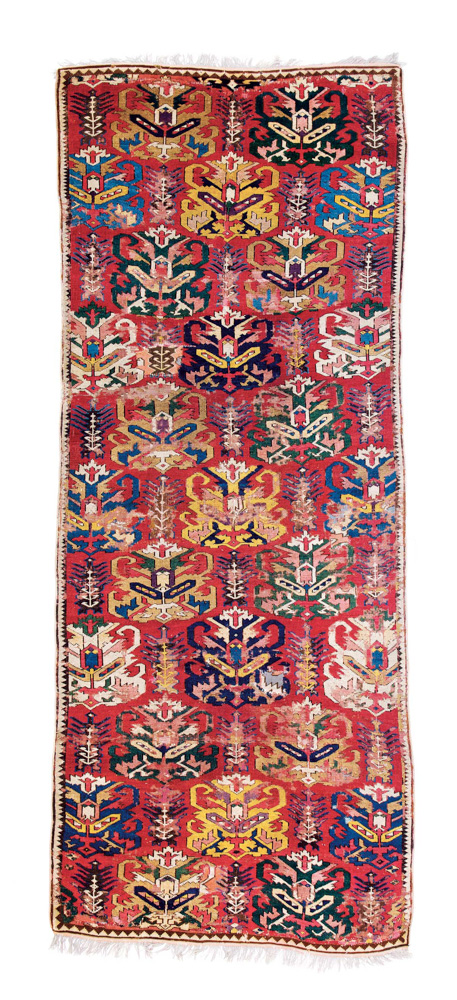 "Lot 48 <br> Lesghi rug, published in Schürmann ""Caucasian Rugs"", 1990 plate 128, Caucasus dated by Schürmann 17th/18th century <br>Estimate: € 18,000 – 22,000"