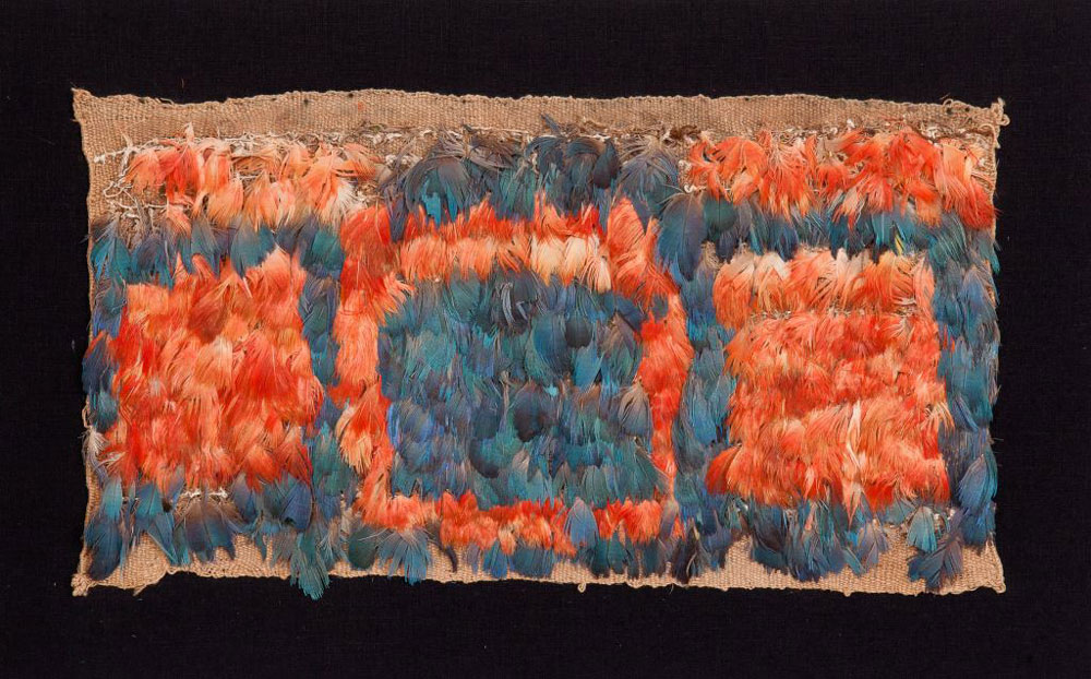 reCeremonial-chest-panel,-woven-cotton-&-feathers,14.5x8ins,37x20cms,-mounted,-Huari-culture,-South-Coast-Peru,-400-600AD,-5276a
