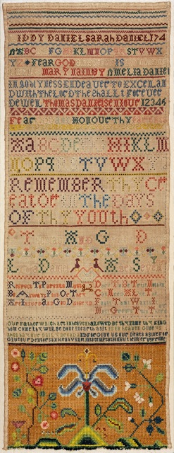 An attractive band sampler worked by Liddy Daniel about 1740, The sampler records a number of family names and siblings of Liddy