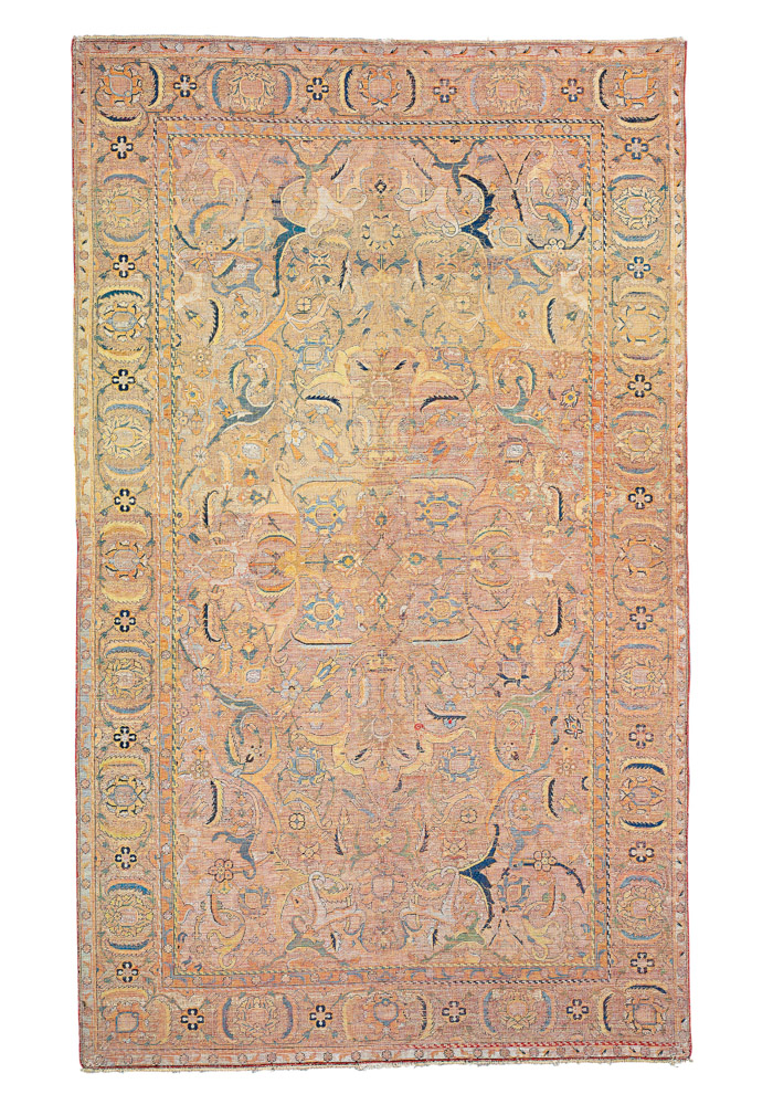 Lot 115. A SILK AND METAL-THREAD 'POLONAISE' RUG ESFAHAN, CENTRAL PERSIA, FIRST QUARTER 17TH CENTURY 8ft.5in. x 4ft.3in. (255cm. x 130cm.) £50,000-70,000