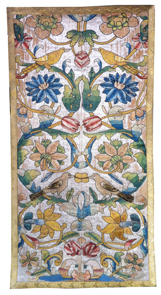 SILK EMBROIDERED PANEL C. 1680, ITALY