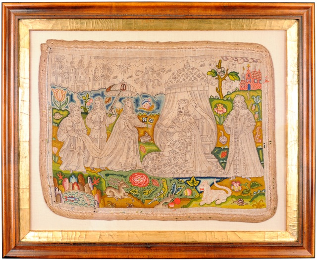 unfinished 17th century embroidery records the visit of the Queen of Sheba to Kin Solomon