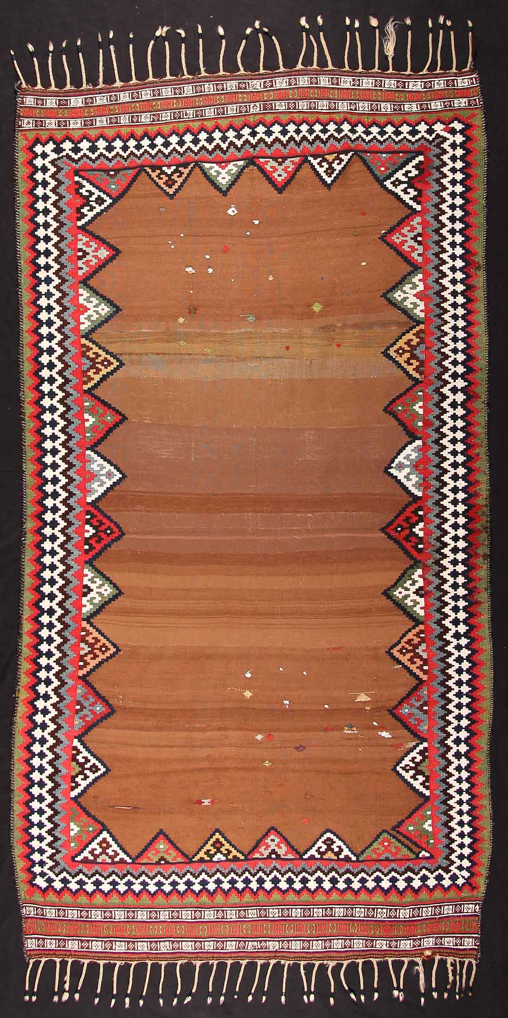 Kilim, late 19th century South-Persia, Fars region, Ghashghai nomads 154 x 280 cm. Neiriz Collection on view in 100 Kilims at Halle