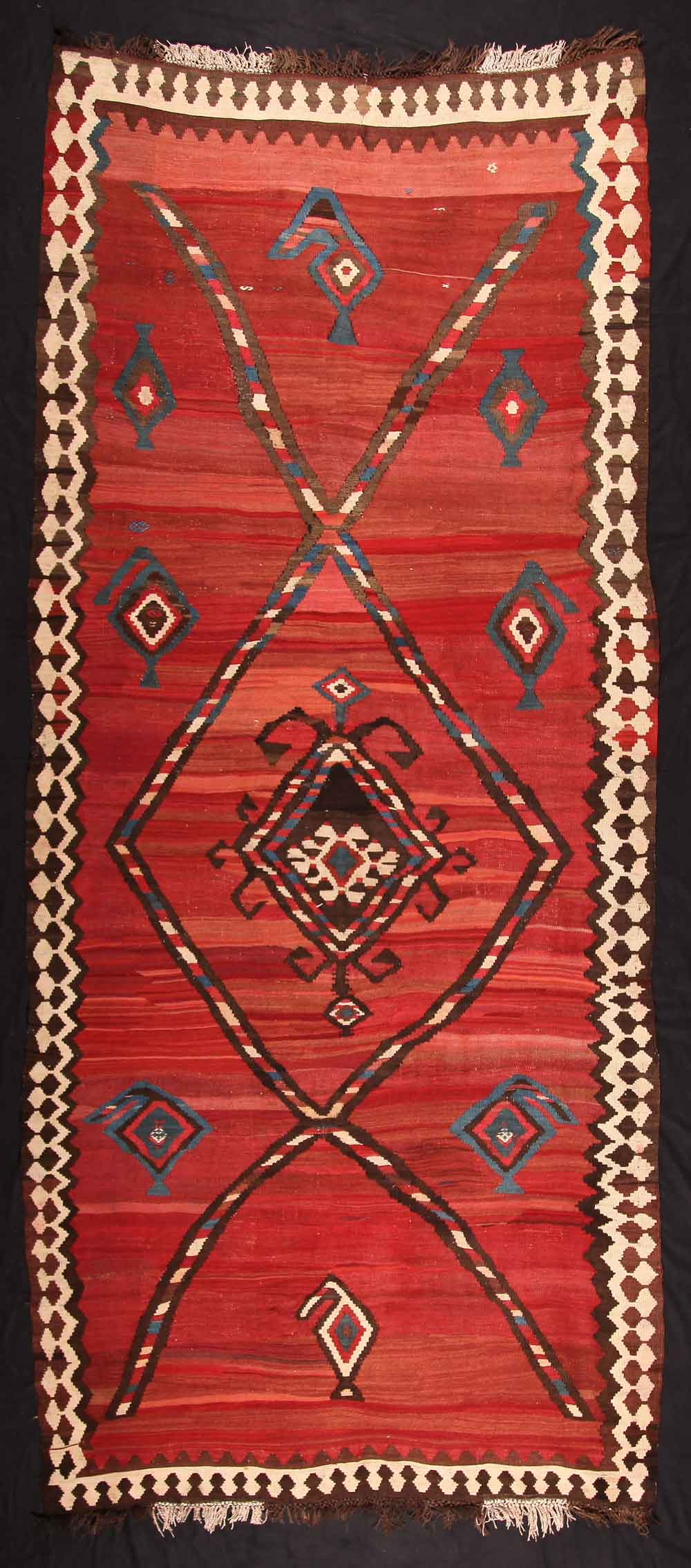 Kilim, 19th century Northwest-Persia, Azerbaijan 172 x 361 cm. Neiriz Collection on view in 100 Kilims at Halle Germany