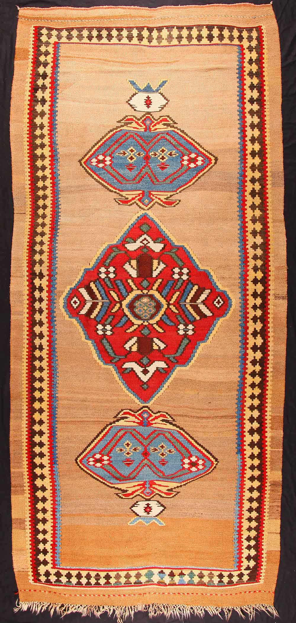 Bijar area kilim, late 19th century, West-Persia, Kurdistan, 154 x 366 cm. An interesting and rare example of a stylised bug-motif. Neiriz Collection on view in 100 Kilims at Halle Germany