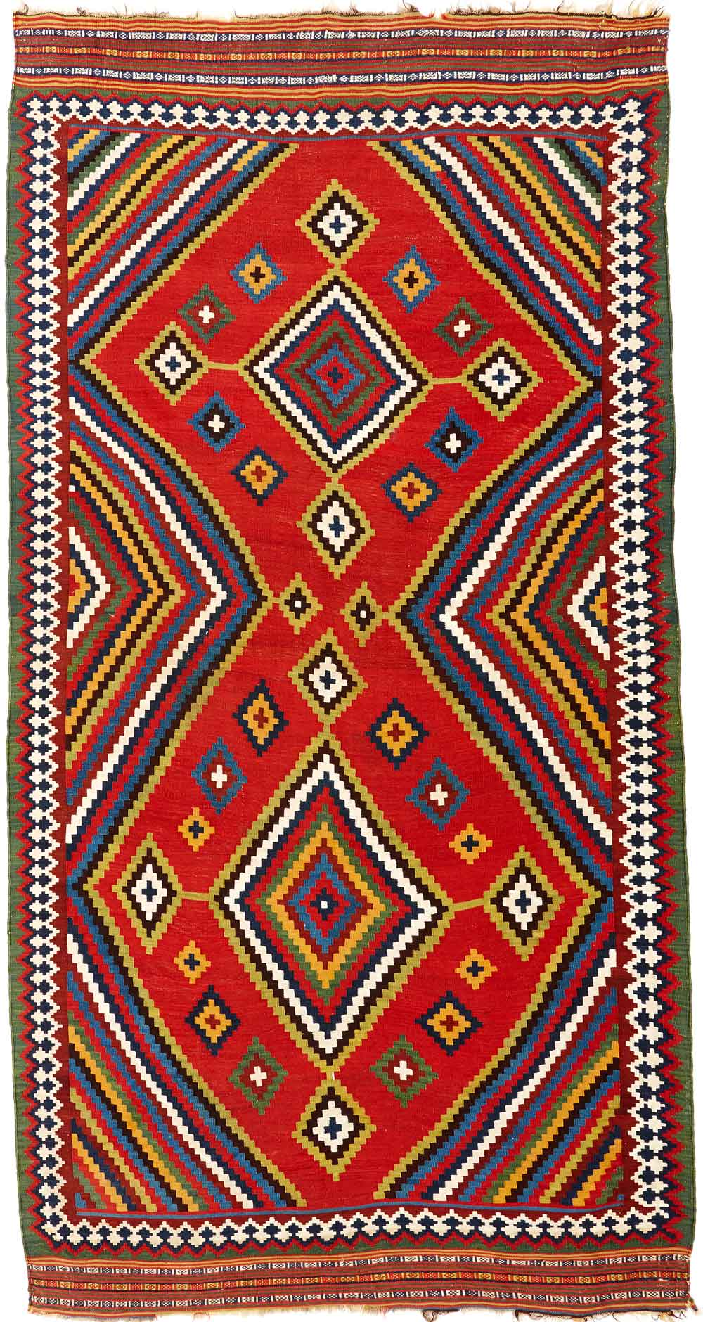 Qashqa'i kilim, Yalameh tribe, 19th century South-Persia, Fars region, 156 x 276 cm. Neiriz Collection on view in 100 Kilims at Halle Germany