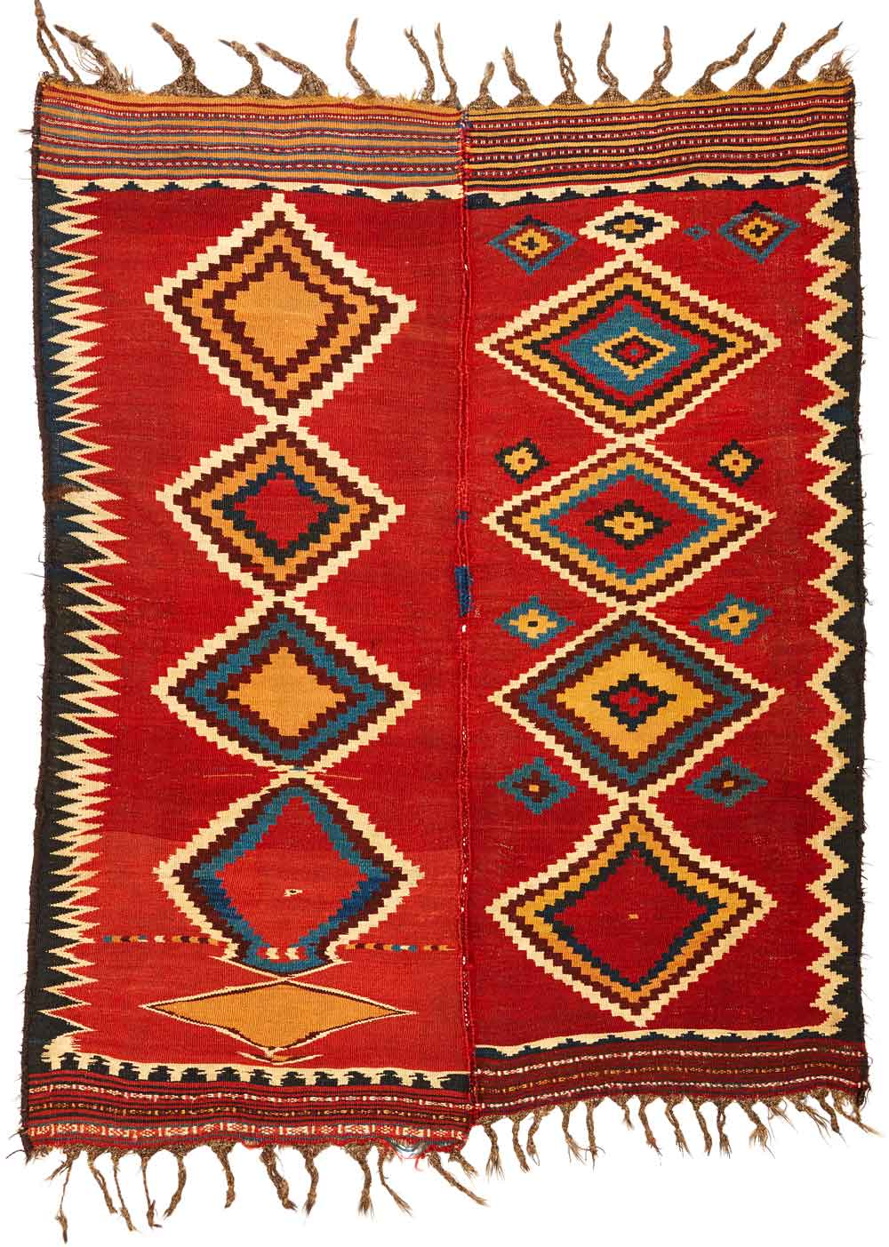 Kilim (made from two parts), late 19th century South-Persia, Kohgilujeh Luri tribes 172 x 214 cm Neiriz Collection on view in 100 Kilims at Halle