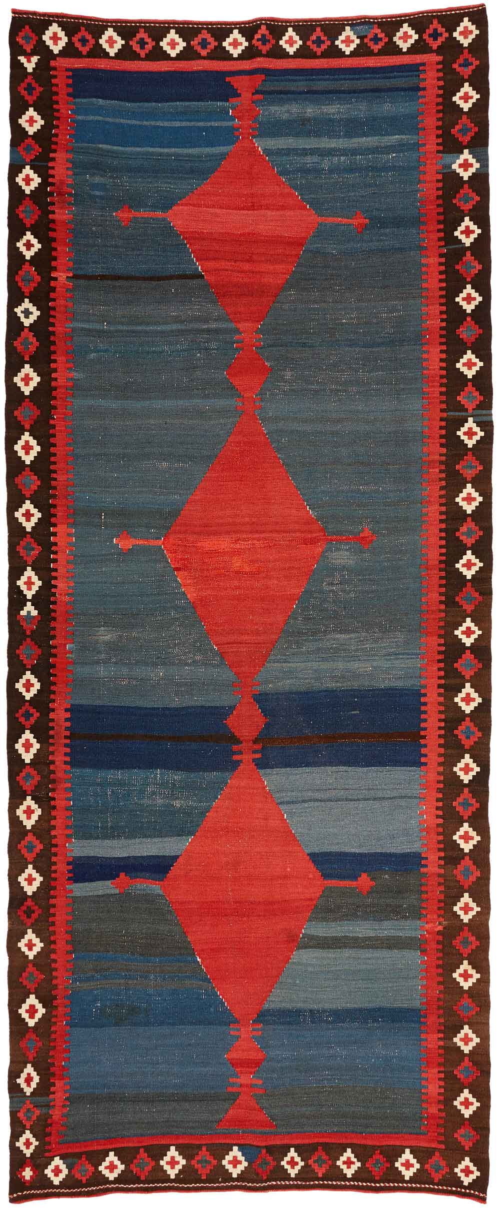 Bijar area kilim, late 19th century, West-Persia, Kurdistan, 205 x 403 cm. An interesting and rare example of a stylised bug-motif. Neiriz Collection on view in 100 Kilims at Halle Germany