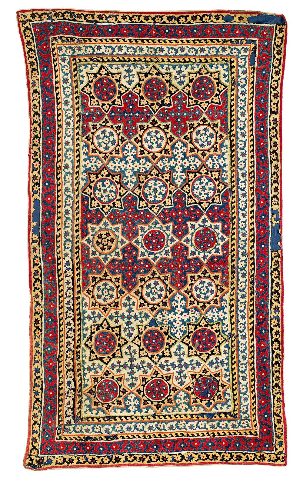 Lot 69, Felt Appliqué Cover, Central Asia, Uzbekistan, mid 18th century, 215 x 120 cm, estimate €1,500
