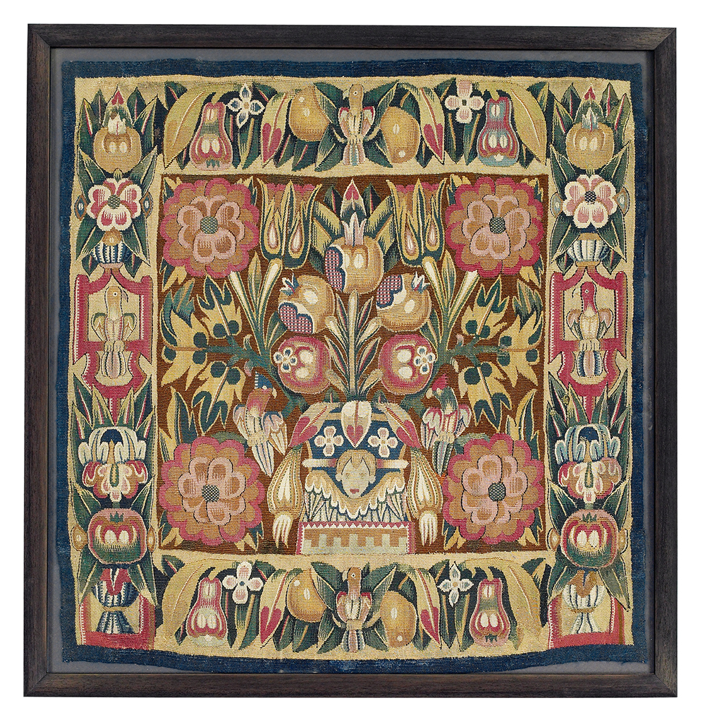 Lot 96, Tapestry cushion face, Northern Germany, Hamburg, 17th century, 53 x 50 cm, estimate €1,800