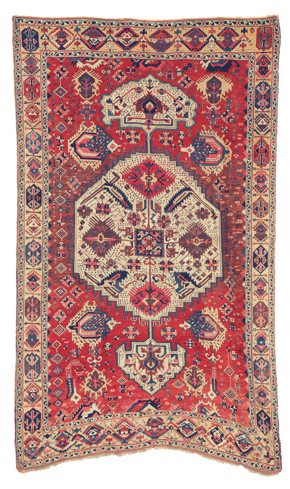 "The Opulent Eye auction, Christie's New York 18 November, Lot 156, East Anatolian rug, circa 1800, 287cm x 165cm (9'5"" x 5'5""), estimate $15,000 - 25,000"
