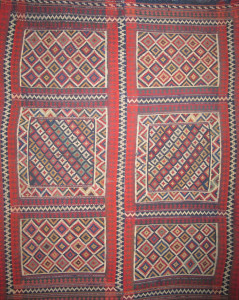 Jajim (blanket), 19th century Made from 2 parts South-Persia, Fars region Ghashghai nomads 190 x 233 cm. 100 Kilims, Neiriz Collection, Halle