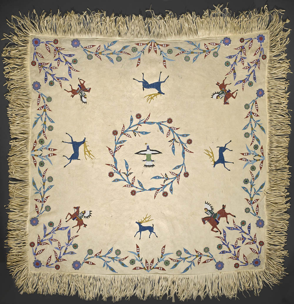 Lot 2372 - An exceptional Sioux beaded pictorial hide