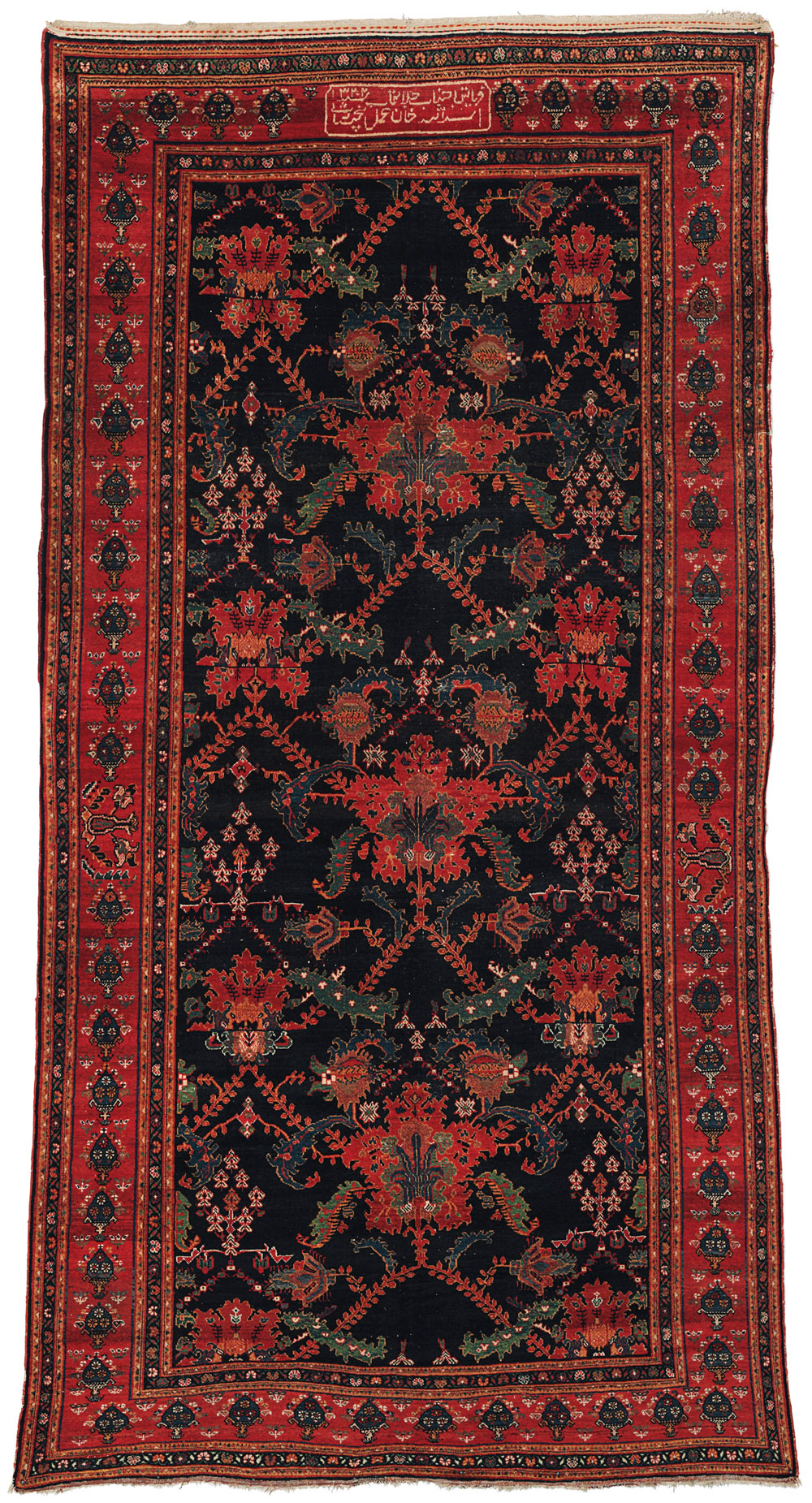 "The Opulent Eye auction, Christie's New York 18 November, Bakhtiari carpet, west Persia, dated 1904-1905 AD/AH 1322, 409cm x 206cm (13'5"" x 6'9""), estimate $8,000 - 12,000"