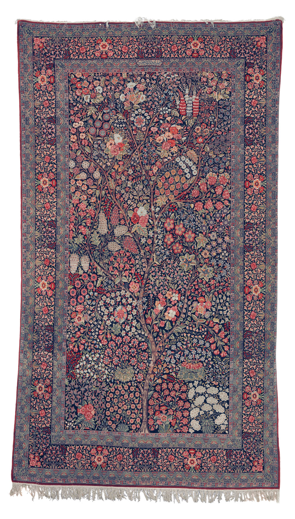 "The Opulent Eye auction, Christie's New York 18 November, Lot 226, Millefleurs rug, Kirman, circa 1900, 292 cm. x 165 cm (9'7' x 5'5""), estimate $20,000 - 30,000"