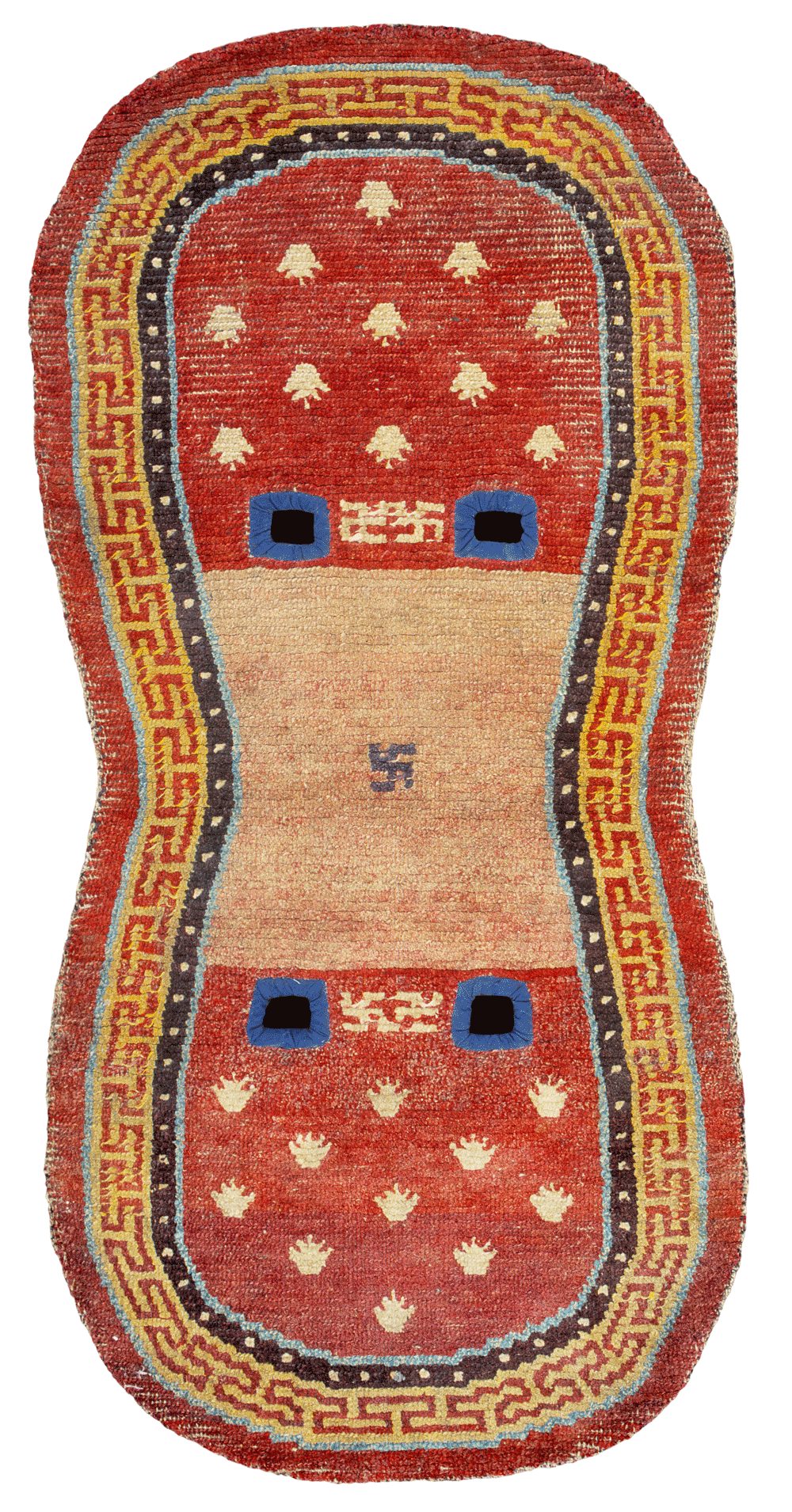 Tibetan rugs at Cologne Fine Art 2014, Saddle Rug with frog feet pattern, 19th century, 122 x 61 cm