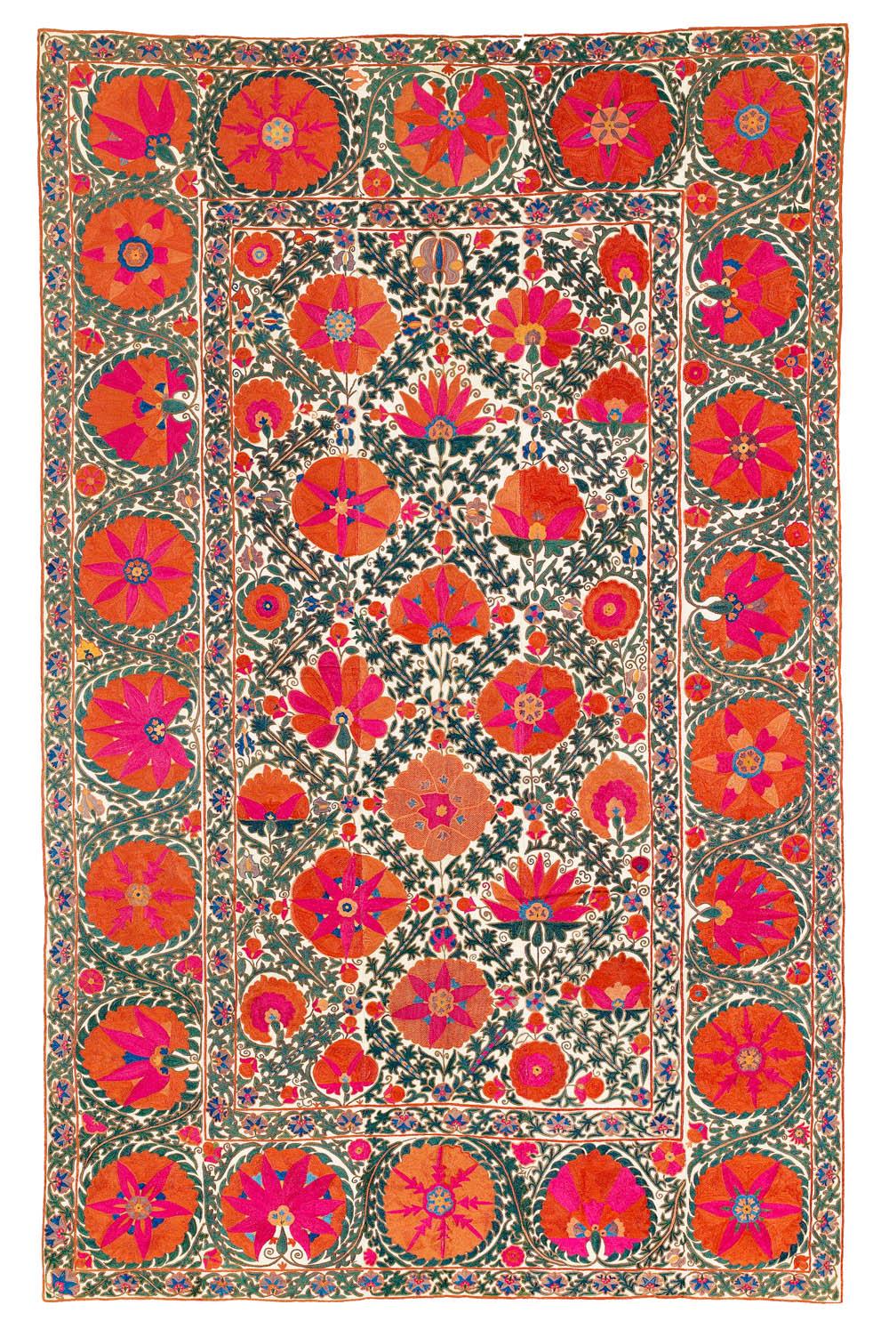 Lot 79, Kermina Suzani, Uzbekistan, 241 x 155 cm, estimate €14,500, sold for €15,860 ($19,510)