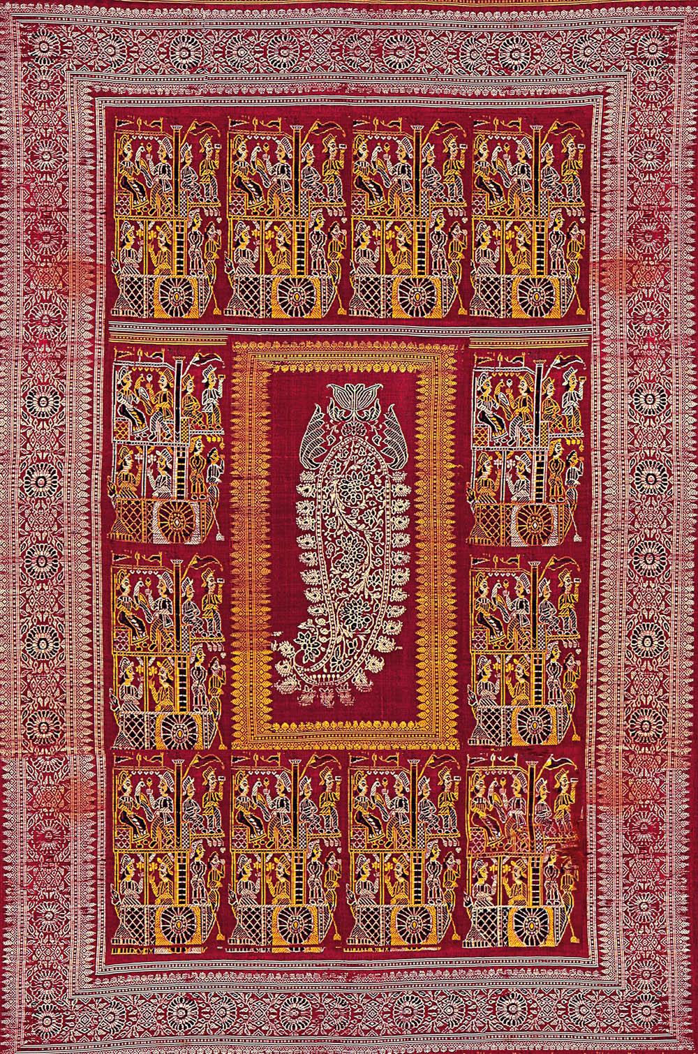 Detail of a Baluchar silk sari, west Bengal, 19th century. Tapi Collection, Surat