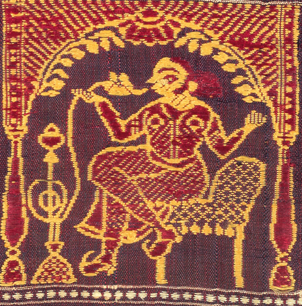 Baluchar anchal fragment detail. Straddling two cultures ― seated on a chair, her legs stylishly crossed, a bibi or courtesan enjoys her hookah.