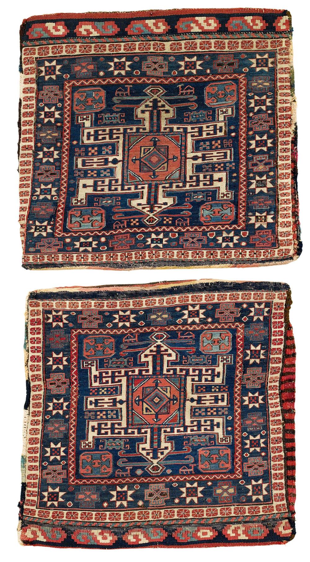 Shahsavan Khorjin, Moghan-Savalan region, circa A: 50 x 52 cm, B: 49 x 53 cm, mid 19th century, estimate €5,400, sold for €9,150 ($11,255)