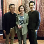 John Ang with Leslie Woodhouse scholar of SE Asian History, Berkeley with Ake Thweep collector of Burmese Luntaya Achiek and Indian trade textiles, Woven Connections, Samyama