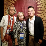 John Ang with Professor Rahardi Ramelan, Chairman of the Indonesian Batik Foundation and Dr.Tumbu Ramelan, Director of the Batik Gallery of the Textile Museum Jakarta, Woven Connections, Samyama