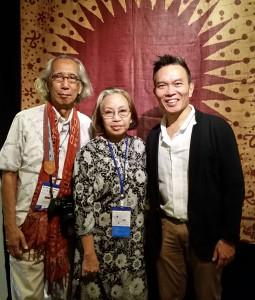 John Ang with Professor Rahardi Ramelan, Chairman of the Indonesian Batik Foundation and Dr.Tumbu Ramelan, Director of the Batik Gallery of the Textile Museum Jakarta, Woven Connections, Samyama