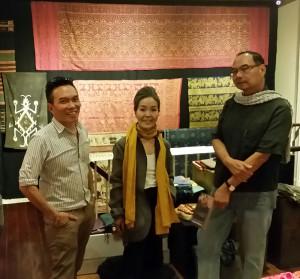 John Ang with fashion designer Sachiko Kobayashi and Professor Vithi Phanichphant, textile collector and professor at Chiangmai University, Fine Arts Department, Woven Connections, Samyama