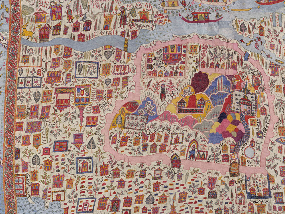 Map shawl, woollen embroidery, Kashmir, 19th century, Victoria and Albert Museum, London