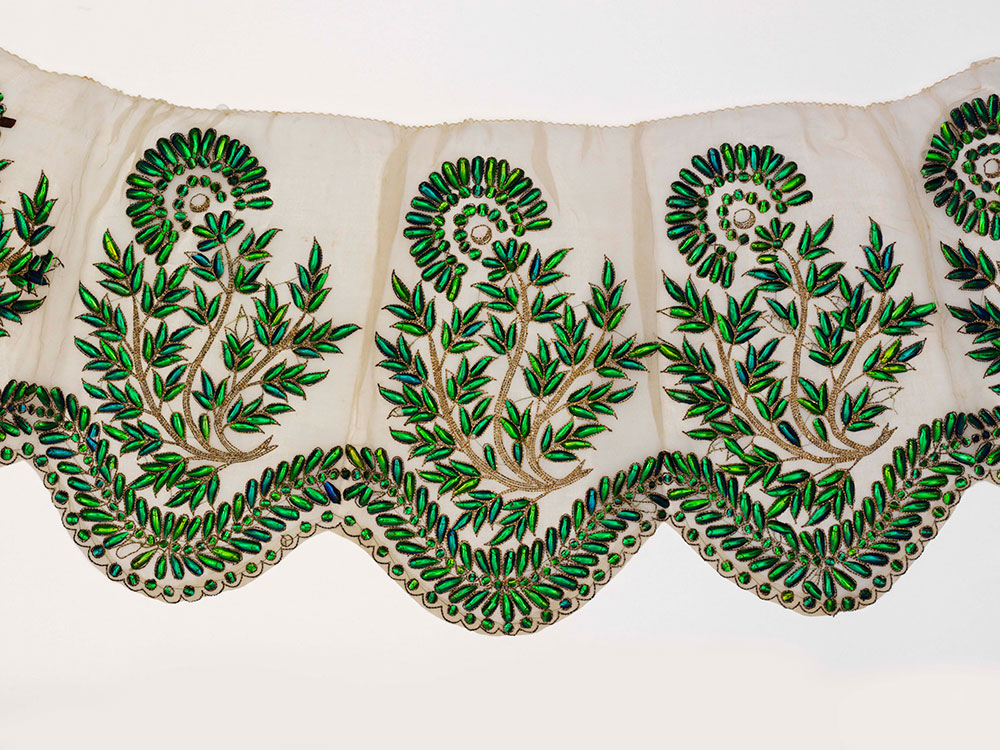Muslin border embroidered with beetle wings, probably Hyderabad, 19th century, Victoria and Albert Museum, London