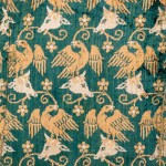 Velvet showing eagles and cows' heads; one of the earliest known examples of a velvet with a figurative design. Italy, last quarter 14th century, silk. Abegg-Stiftung, 171
