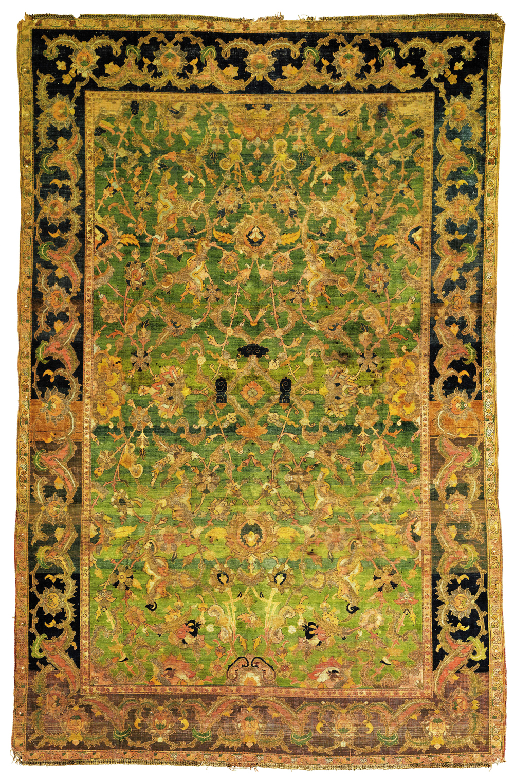 Lot 68, THE KING UMBERTO II 'POLONAISE' RUG, Property from a Renowned Private Collection, A 'POLONAISE' SILK AND METAL-THREAD RUG, ISPHAHAN OR KASHAN, CENTRAL PERSIA, 17th century