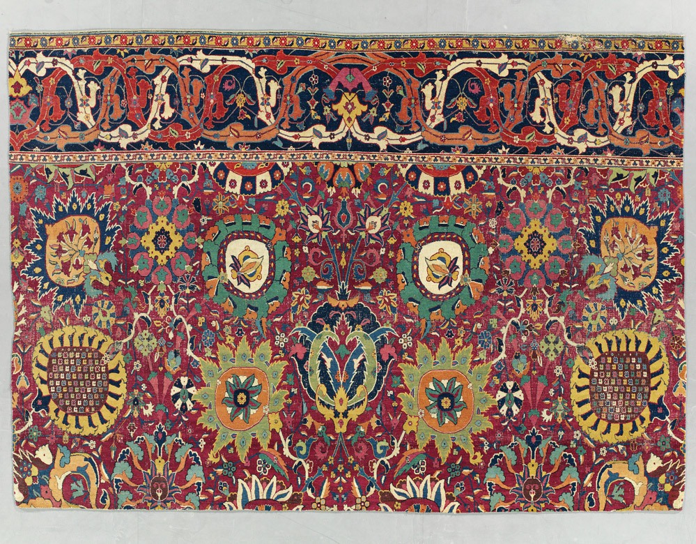 "Kerman 'vase' carpet fragment, southeast Persia, early 17th century. 2.86 x 2.05m (9'5"" x 6'9""). £250,000-350,000"