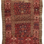 Tekke Turkmen ensi, first half 19th century. Low pile, wool warp, wool weft, wool pile. Lot 44, Austria Auction Company, Vienna, 20 April, estimate € 1.200 – 1.800