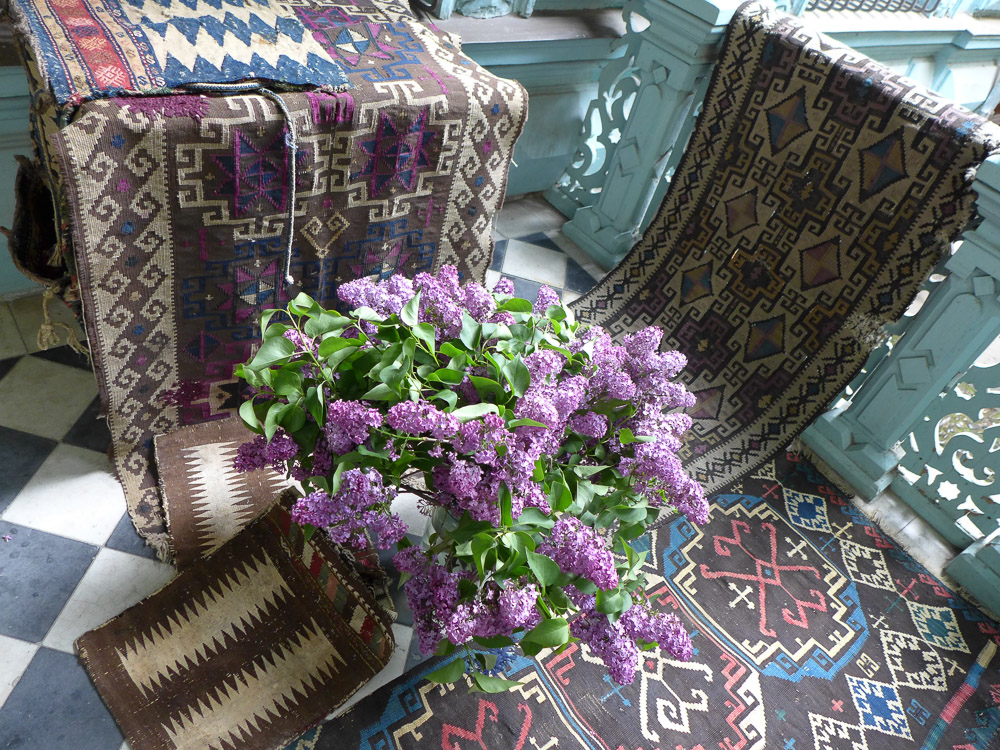 Private collection of Tushetian kilims on the veranda at the house of Nino Kipshidze, Tbilisi