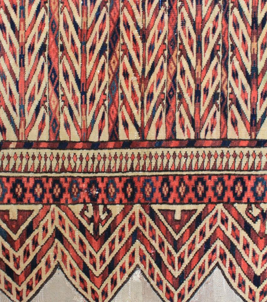 Yomud Turkmen okbash, third quarter 19th century. Approximately 1ft. 11in. by 1ft. 7in. (0.58 by 0.48m.) For a related example in the collection of the Textile Museum, please refer to Mackie, Louise W. and Dr. Jon Thompson, Turkmen, Washington, D.C., 1980, pl. 82. David Sorgato, Milan