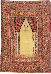 Lot 7117 Part cotton Ghiordes prayer rug circa 1700. Henrys Auktionshaus, 11 June, estimate €3,000.