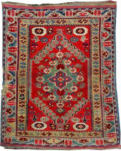 Lot 72343 Dazkiri rug with Transylvanian design, early 19th century. Henrys Auktionshaus, 11 June, estimate €3,000.