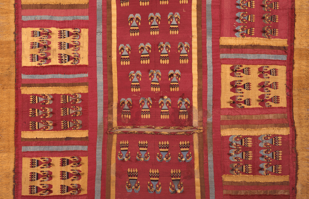 Sleeved Tunic with Flying Condors, Chancay culture, Central Coast, A.D. 1200–1400. Plain warp and weft tapestry weave with looped stitching; cotton and camelid wool, 52 1/4 × 48 3/8 × 2 1/4 in. (132.7 × 122.9 × 5.7 cm). Private collection