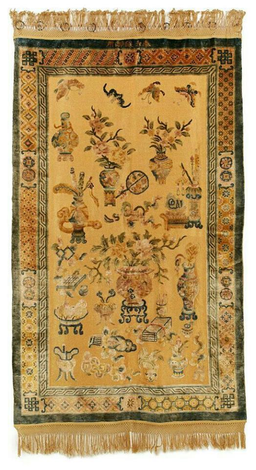 Silk and metal thread palace carpet, Ningxia, 19th century. Mollaian at NYICS