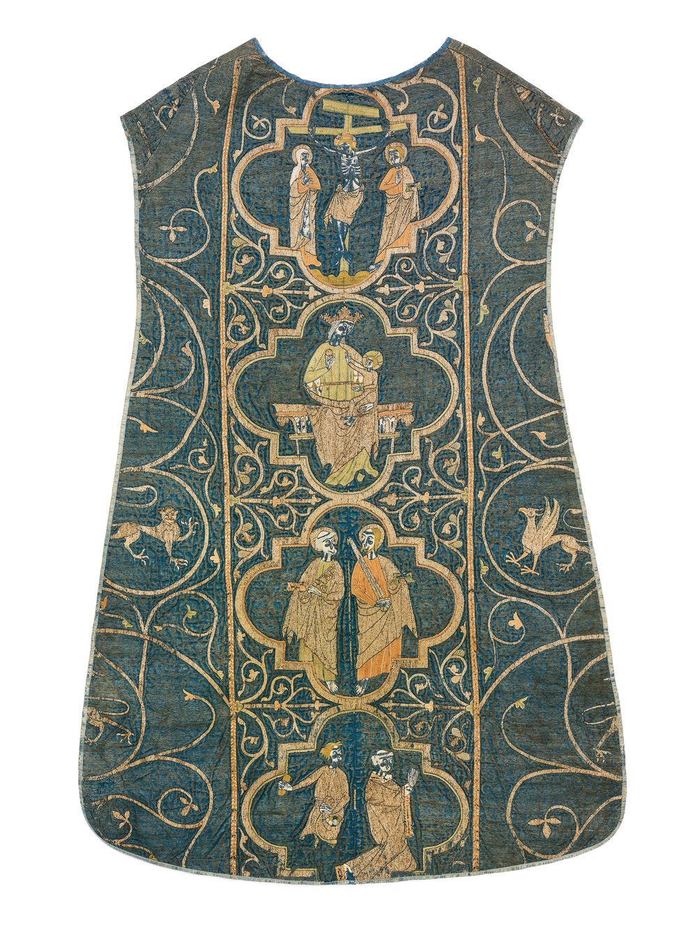 The Clare Chasuble, Persia (?) (satin weave ground cloth), England (silk, silver and silvergilt embroidery), circa 1270-1294. Victoria and Albert Museum, London, 673-1864