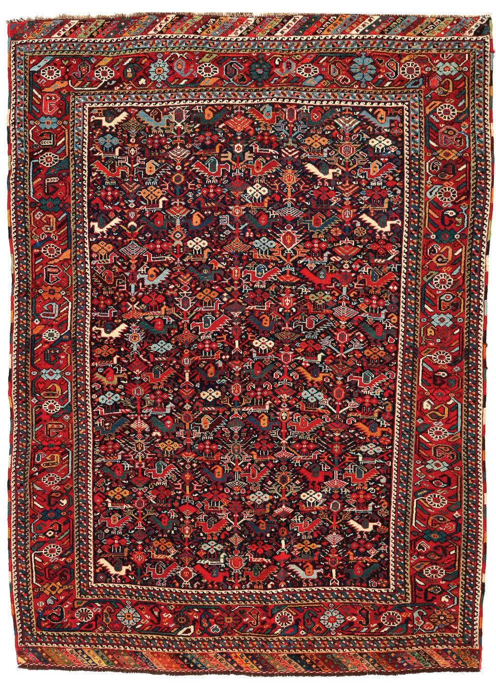 Khamseh murgh design rug, 137 x 194 cm